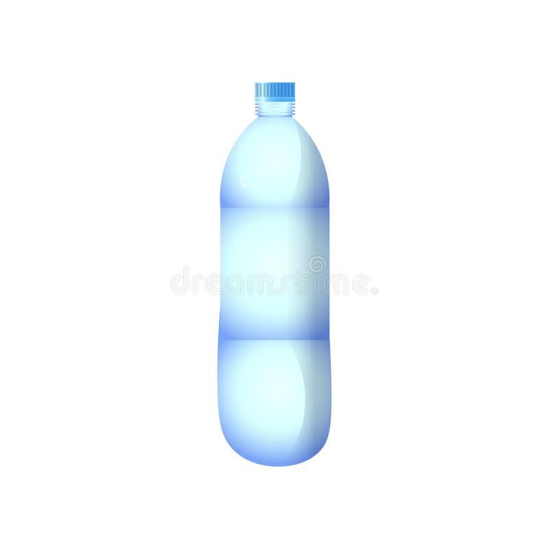 有被环绕的圆筒设计的蓝色塑料水瓶与在白色背景隔绝的裁减路线 向量例证