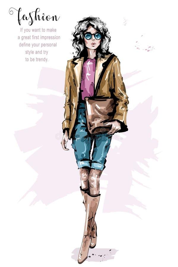 有袋子的手拉的美丽的少妇 便衣的时尚夫人 女孩时髦的太阳镜 时尚妇女神色 草图 库存例证