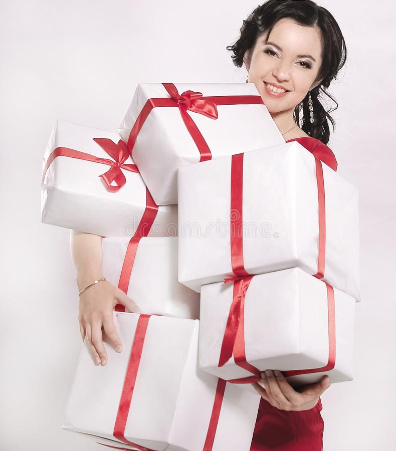 有许多的愉快的小姐礼物盒 库存图片