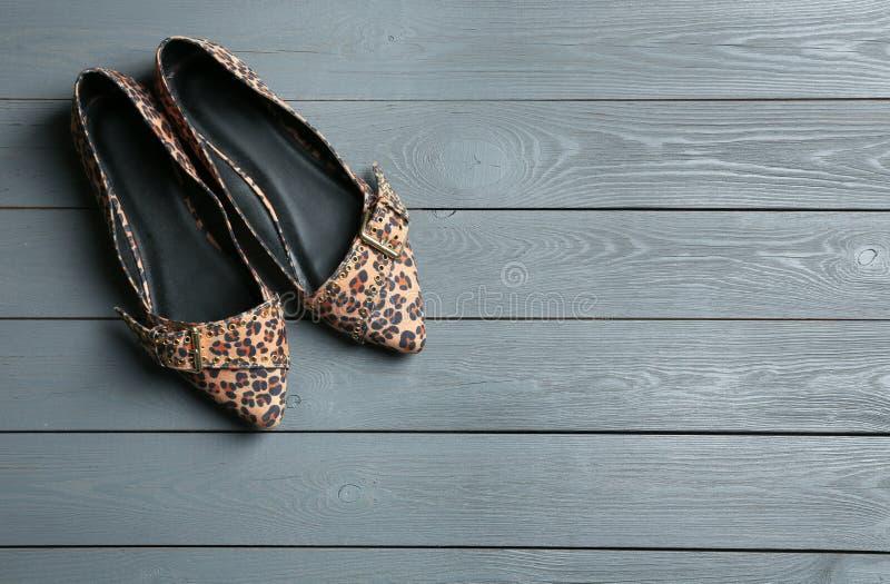 有豹子印刷品的女性鞋子在木背景,顶视图 库存照片