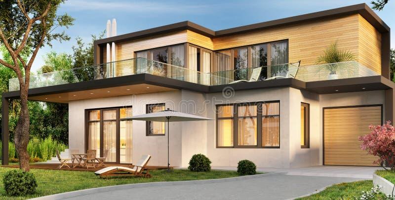 有车库和大阳台的现代房子 向量例证