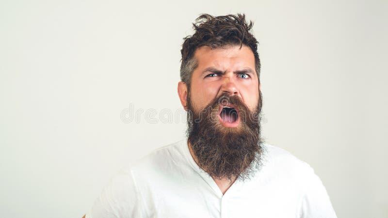 有胡子的疯子迷茫的面孔 有胡子的恼怒的人激动,在白色背景 情感,面孔表示cocncept 残酷地 库存图片