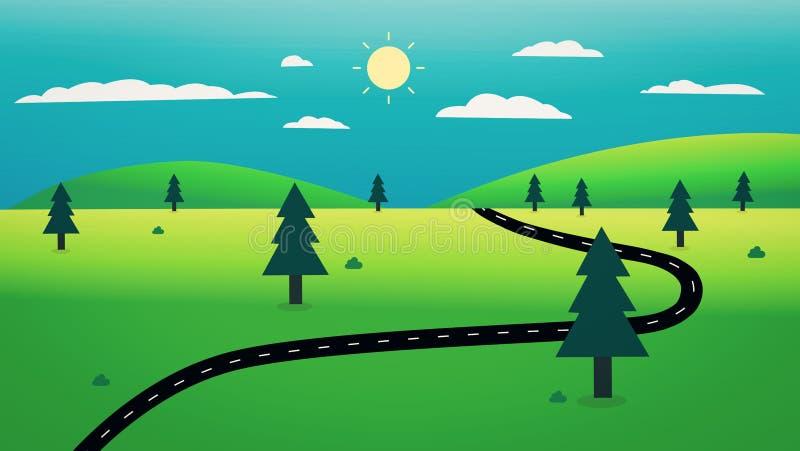 有自然风景和天空背景例证的乡下公路 美好的自然场面设计 一些反弹严格晴朗那里不是的蓝色云彩日由于域重点充分的绿色横向小的移动工厂显示天空是麦子白色风 库存例证