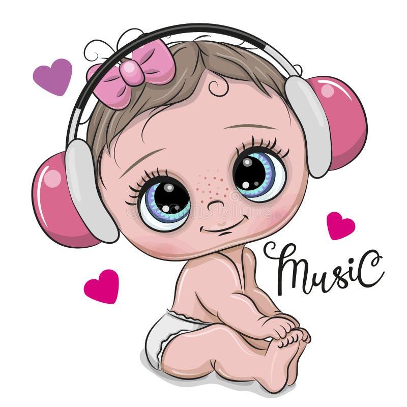有耳机的逗人喜爱的动画片女婴在白色背景 皇族释放例证