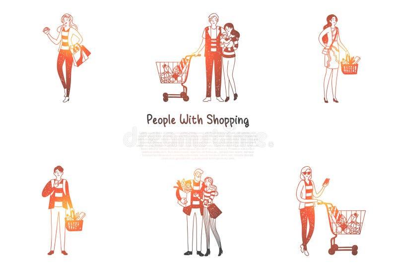 有购物的人们-家庭和人们有购物带来的和篮子与购买导航概念集合 向量例证