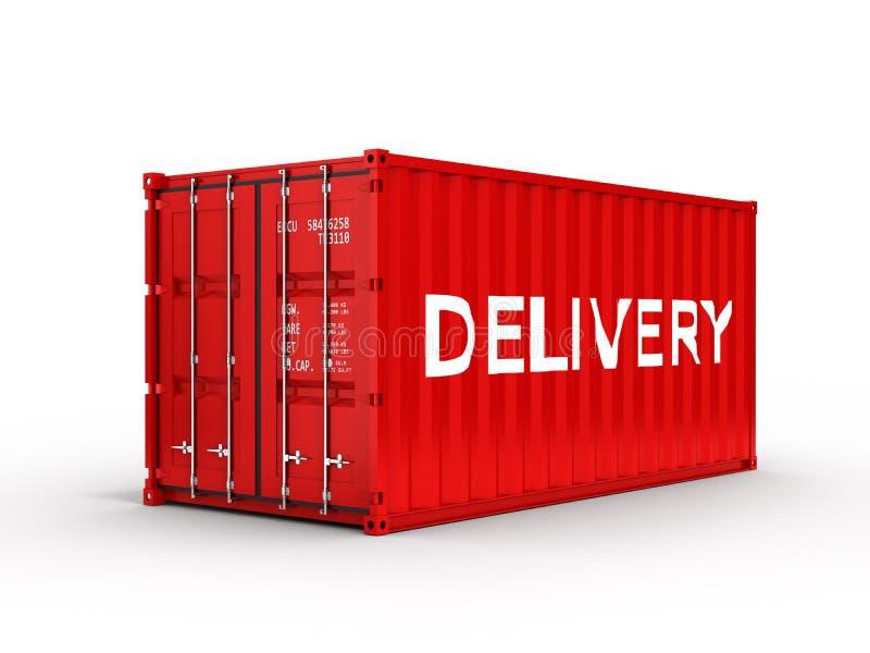 有题字交付的货运容器在白色背景3d 皇族释放例证