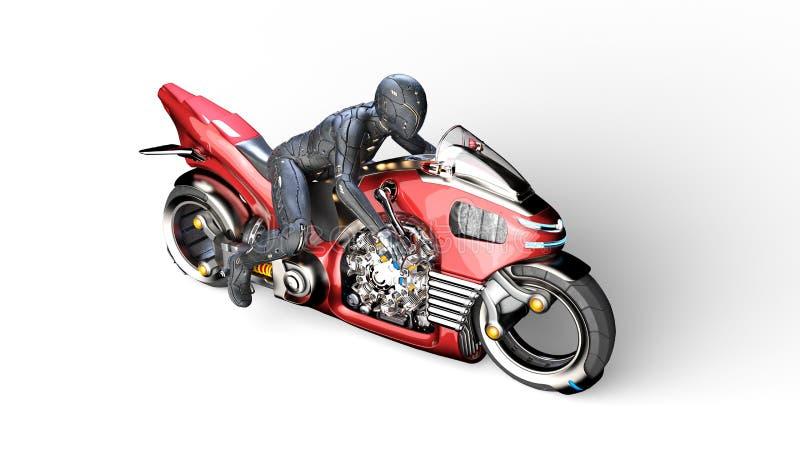 有骑科学幻想小说自行车,在白色背景隔绝的红色未来派摩托车的妇女的盔甲的骑自行车的人女孩,顶视图,3D 皇族释放例证
