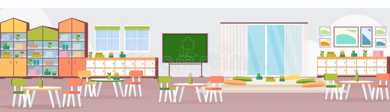 有黑板椅子的学龄前现代幼儿园儿童教室和操场空装饰的家具 向量例证