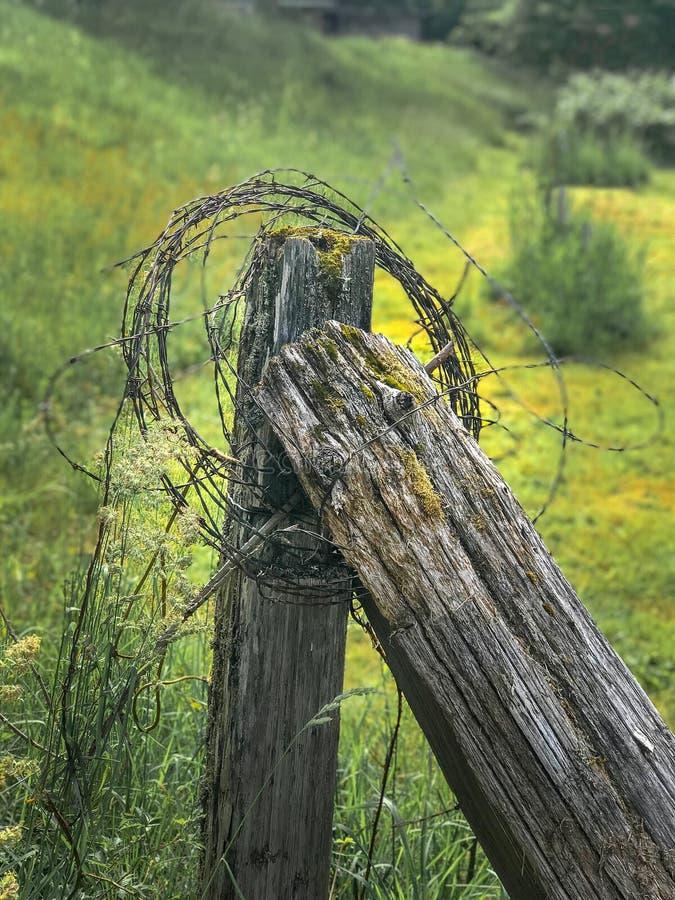 有铁丝网的老篱芭岗位 库存照片