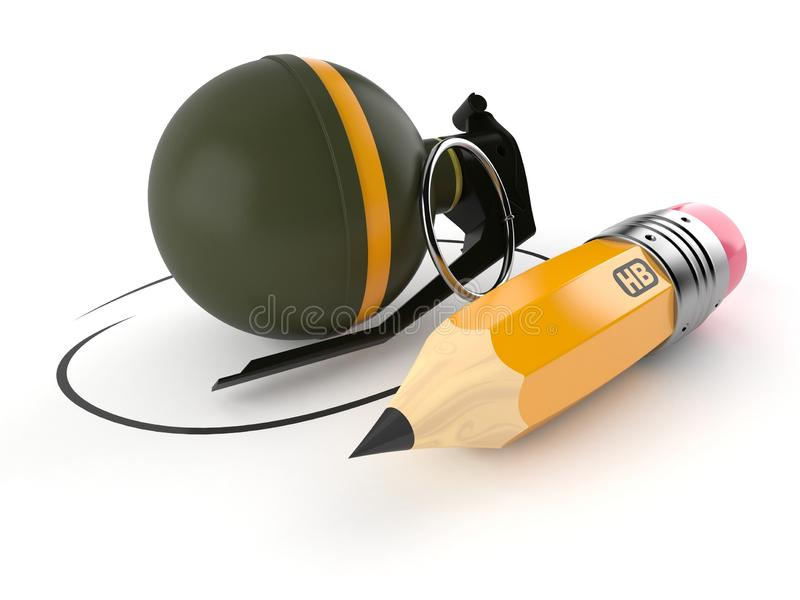 有铅笔的手榴弹 库存例证