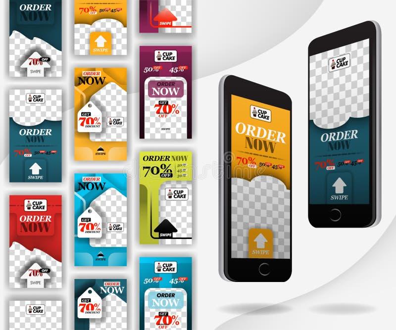 有重击社会媒介模板的大模型智能手机,适用于零售,食物,面包店,营销,互联网广告和在网上 库存例证