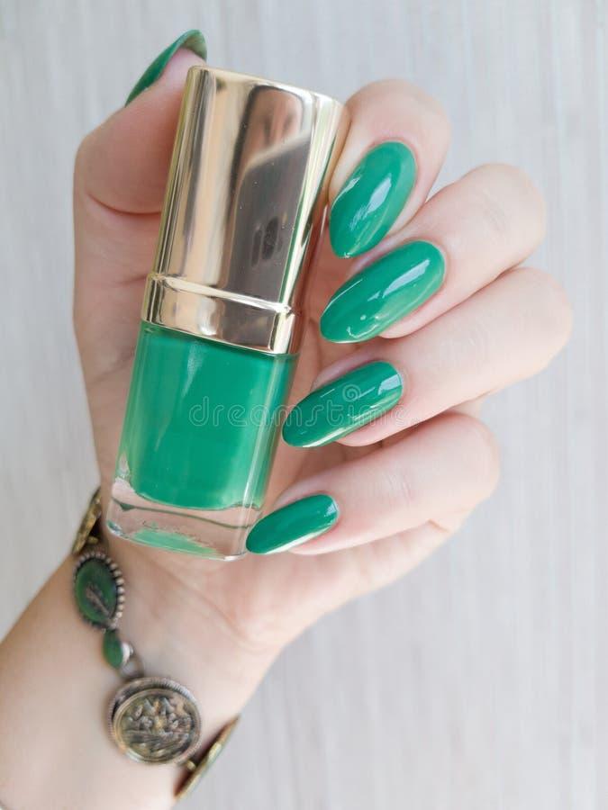 有长的钉子的女性手与绿色指甲油 库存图片