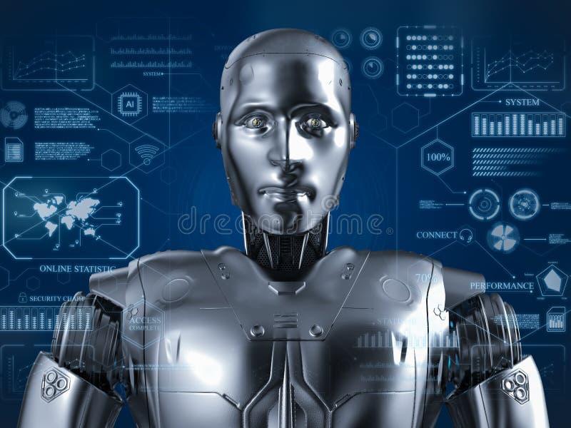 有hud的有人的特点的机器人 向量例证