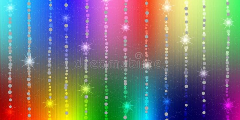 抽象发光的闪闪发光和星在彩虹颜色背景中 库存例证