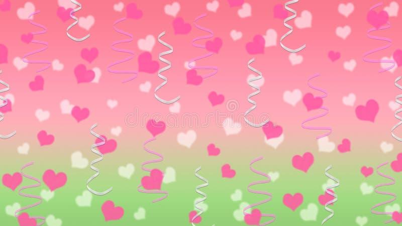 抽象心脏和丝带在桃红色和绿色背景 皇族释放例证
