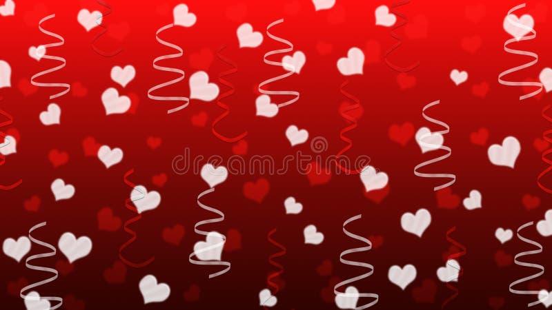 抽象心脏和丝带在红色背景中 库存例证
