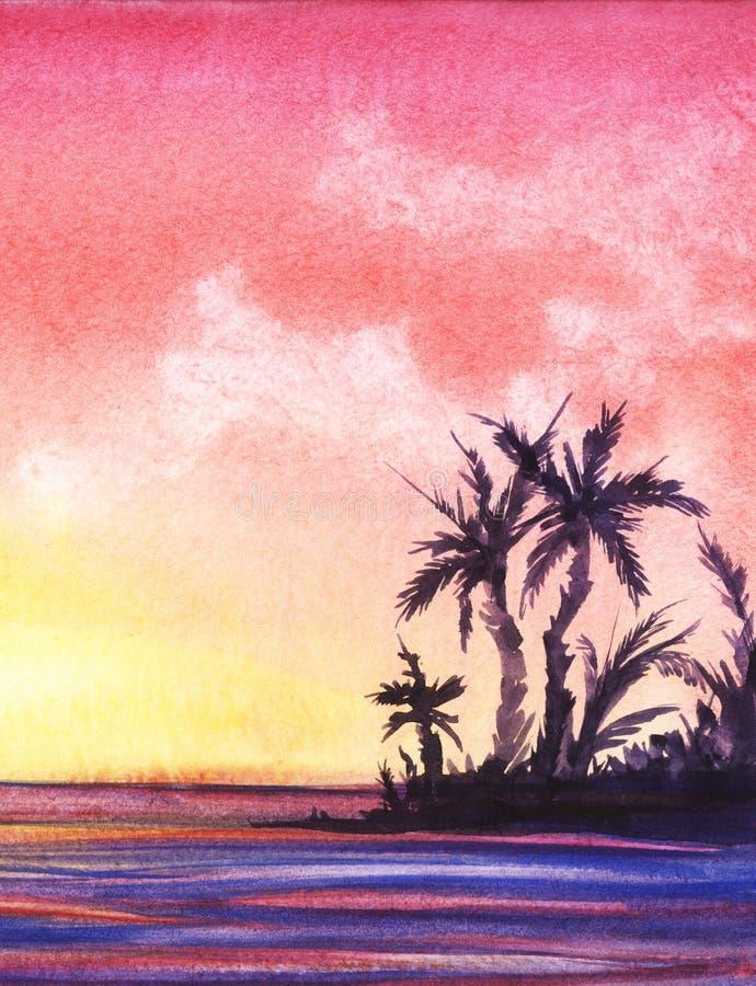 抽象横向纸张水彩 一个热带海岛的黑暗的剪影有棕榈树的在美好的桃红色日落的背景 皇族释放例证