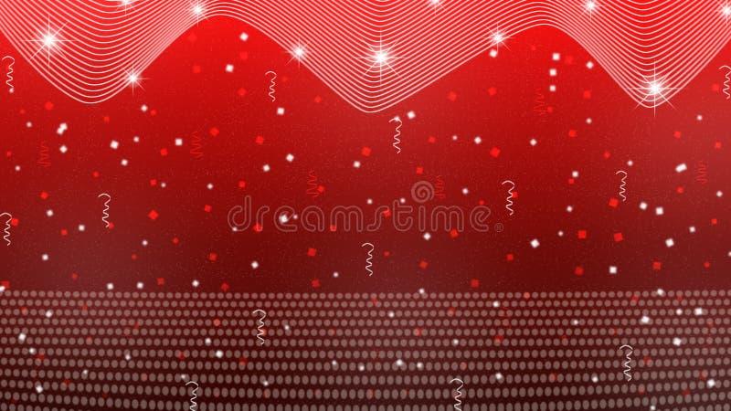 抽象明亮的星、光、闪闪发光、五彩纸屑和丝带在红色背景中 向量例证