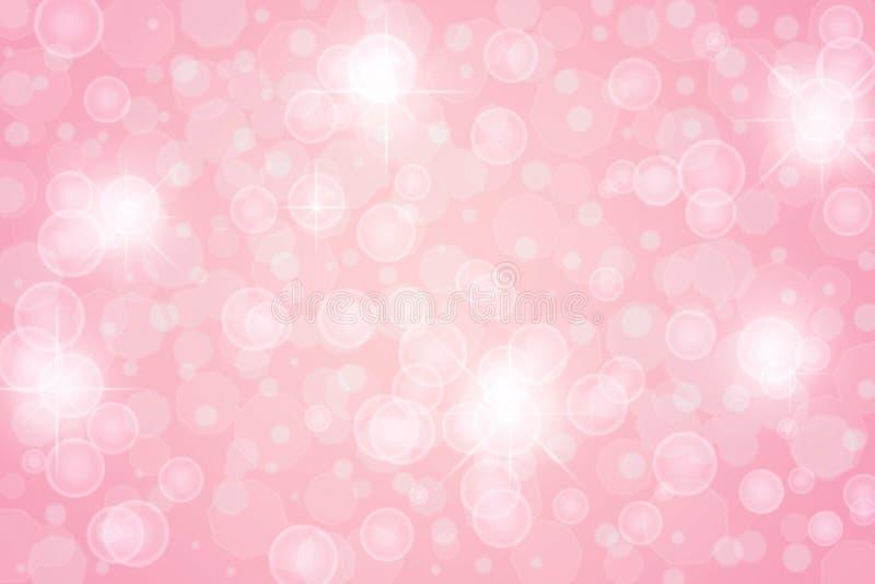 抽象明亮的星、光、闪闪发光和泡影在桃红色背景中 向量例证