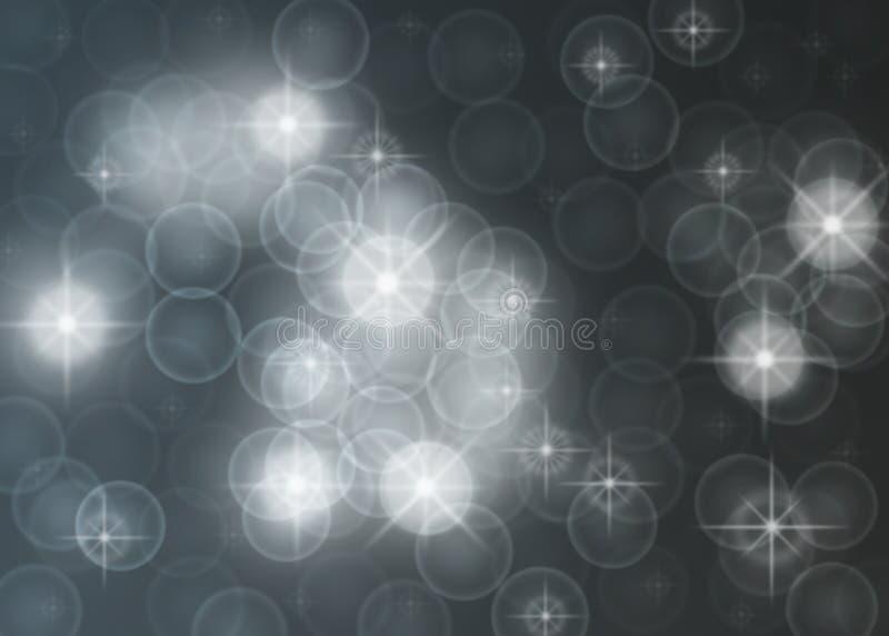抽象明亮的星、光、闪闪发光和泡影在深灰背景中 向量例证