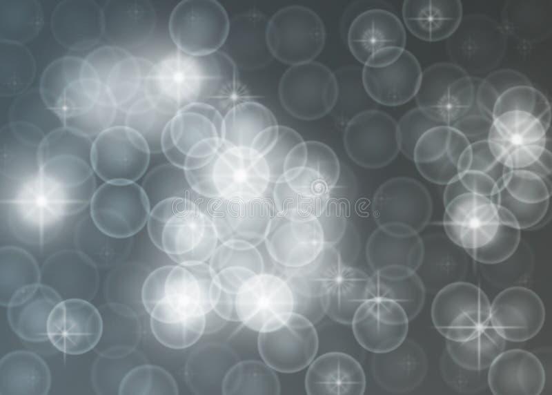 抽象明亮的星、光、闪闪发光和泡影在灰色背景中 皇族释放例证