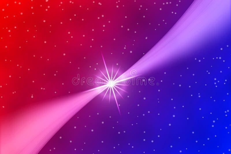 抽象明亮的星和曲线在红色和蓝色背景中 皇族释放例证