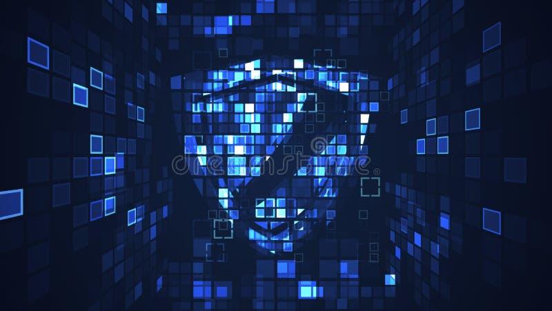 抽象数字网络盾保护安全概念 向量例证