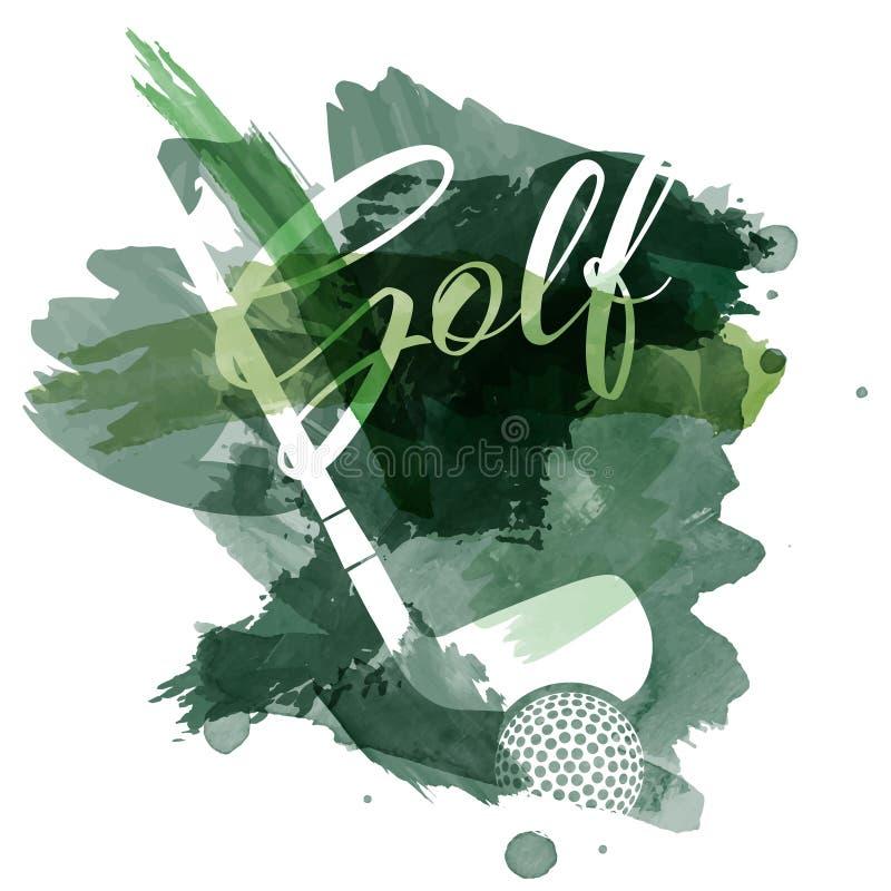 抽象绿色水彩飞溅与高尔夫用品剪影 库存例证