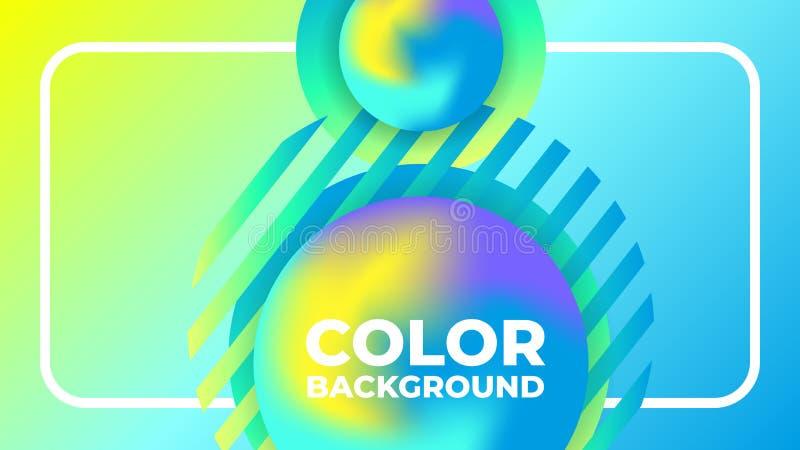 抽象现代梯度充满活力的液体球蓝色黄色背景 皇族释放例证