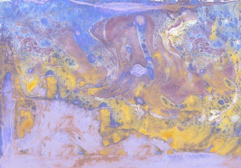 抽象紫罗兰色蓝色和金大理石纹理,丙烯酸酯艺术 库存照片