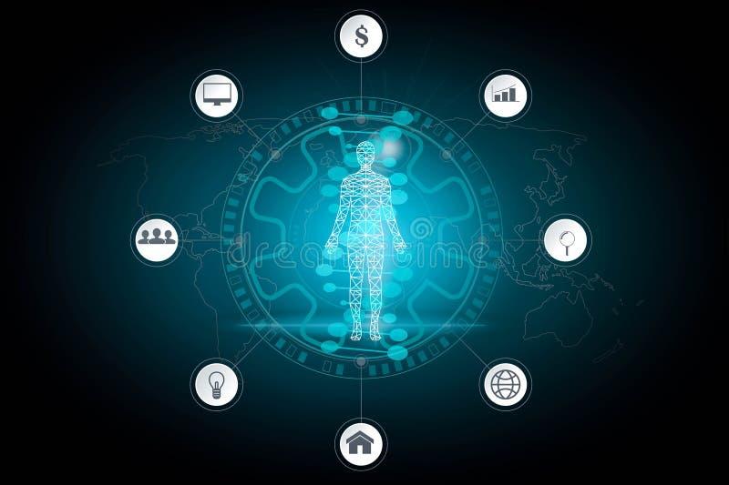抽象背景技术概念在未来和全球性i的蓝色光、脑子和人体技术现代医学 向量例证