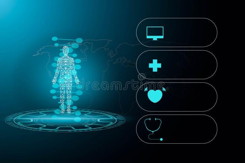 抽象背景技术概念在未来和全球性i的蓝色光、脑子和人体技术现代医学 库存例证