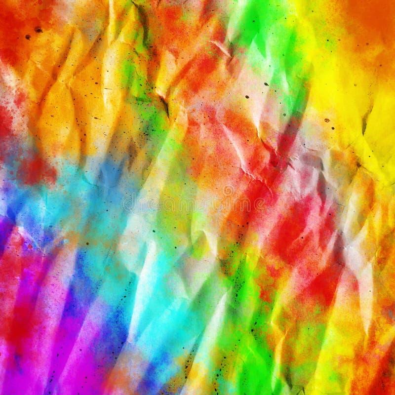 抽象背景,被弄皱的板料与飞溅颜色,数字例证 图库摄影