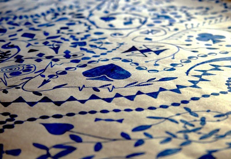 抽象艺术品墨水蓝纸白色 免版税库存照片