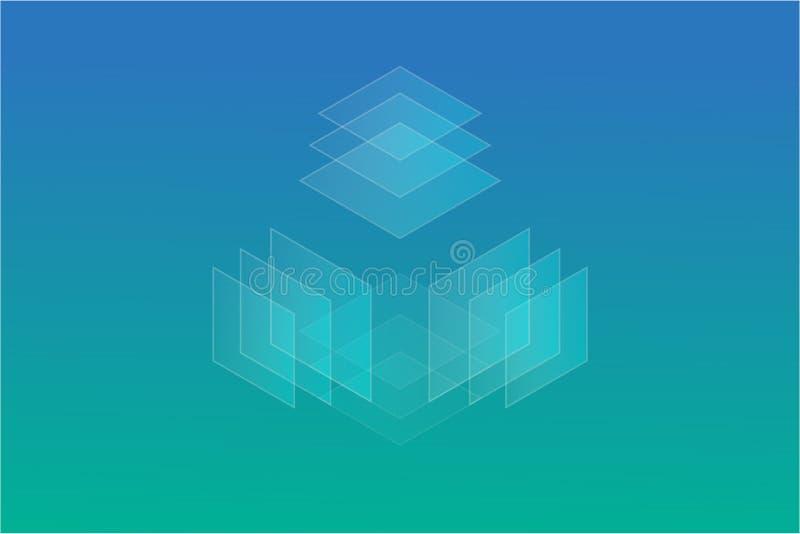 抽象 一个半透明的立方体在四个方向飞行 反对土耳其玉色梯度的背景 向量例证