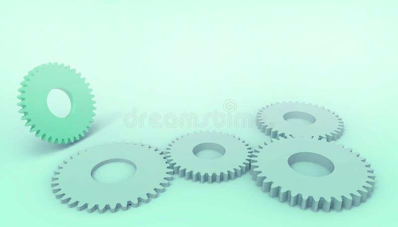 抽象techno引擎链轮戏弄,在淡色绿色背景的工业企业概念 向量例证