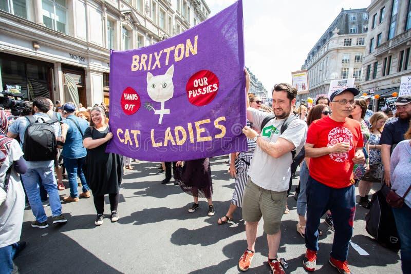 抗议者上街游行伦敦抗议唐纳德・川普的参观 库存图片