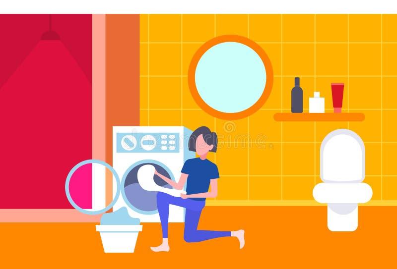 投入肮脏的衣裳的妇女在充分做家事洗衣房内部卡通人物的洗衣机主妇 库存例证