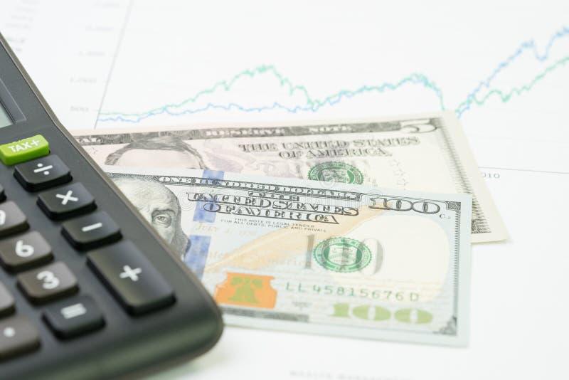 投资、股票或者产权、查寻出产量概念,计算器在表现,市场售价数字图表和图报告 免版税库存照片