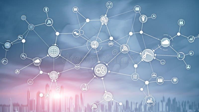 技术工业企业过程工作流在虚屏上的组织结构 IOT聪明的产业概念混合画法 皇族释放例证