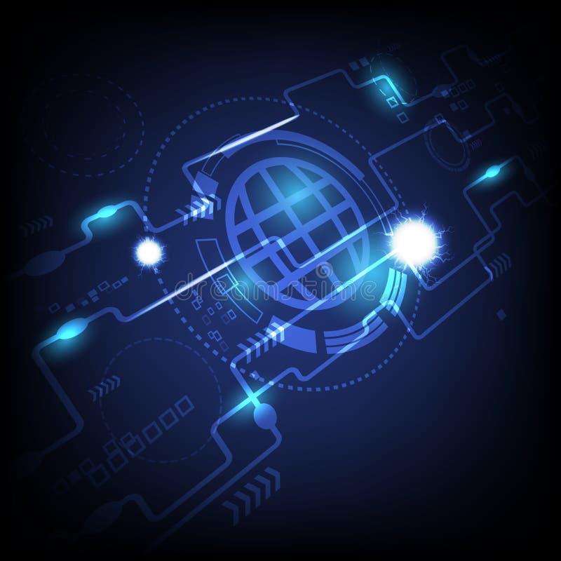 技术,透视光霓虹数字图表摘要背景传染媒介例证 向量例证