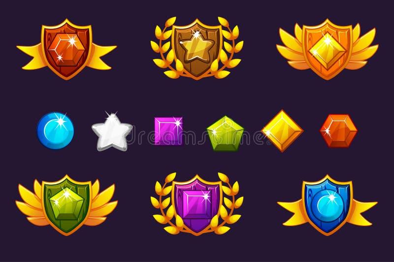 接受成就奖盾和宝石集合,不同的奖 对比赛,用户界面,横幅,应用 皇族释放例证