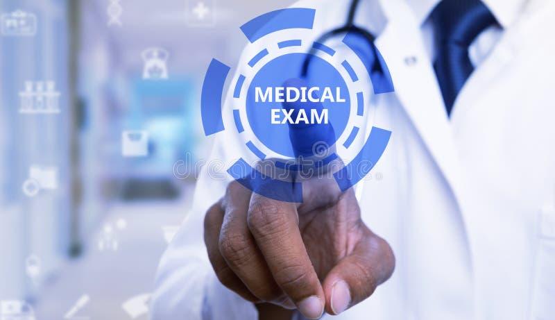 接触在屏幕上的医生特写镜头身体检查按钮 免版税库存照片