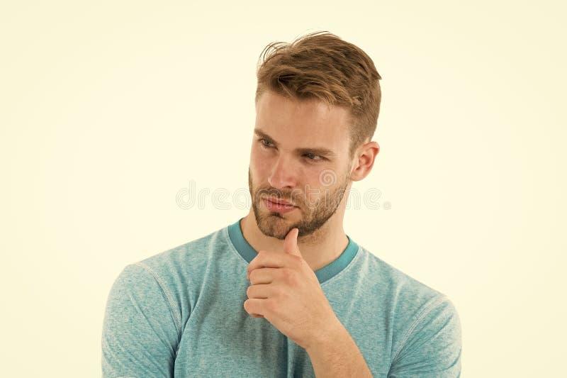 想法查找 供以人员寻找想法,白色背景的刺毛严肃的面孔 人有胡子的周道的接触刺毛 免版税图库摄影