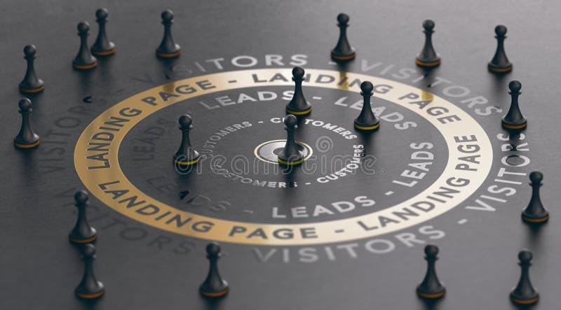 成功的入站营销和登陆的页概念 互联网带领一代 库存例证
