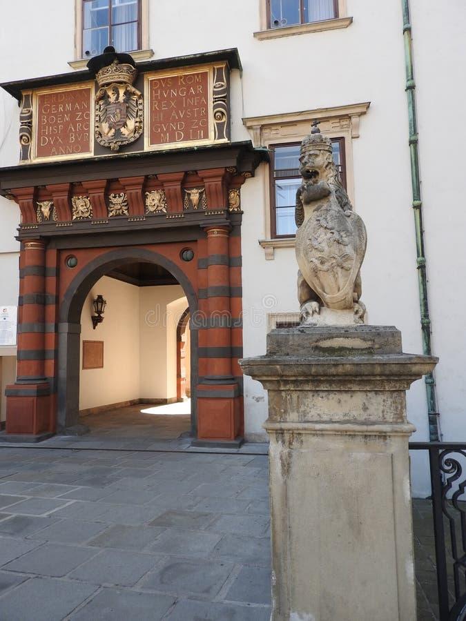 房子门面和纪念碑,维也纳,奥地利石建筑学  免版税库存图片