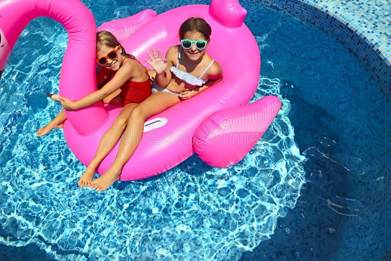 戴太阳镜,可膨胀的火鸟游泳浮游物的愉快的朋友的两个女孩画象  免版税库存照片