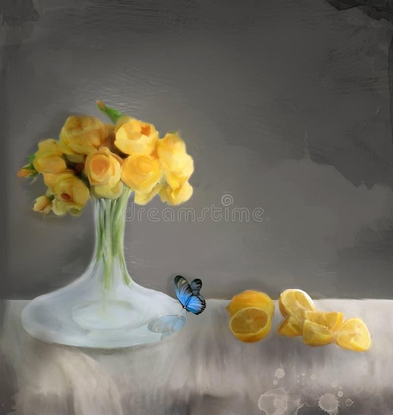 春天和夏天花与黄色玫瑰花束的–静物画 免版税库存照片