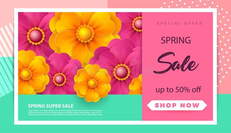 春天销售与纸春天花的横幅模板网上妇女购物的,传染媒介例证 春天销售 安排 库存例证