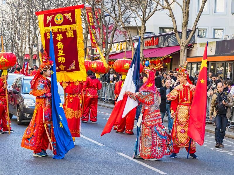 春节庆祝在巴黎游行 库存照片